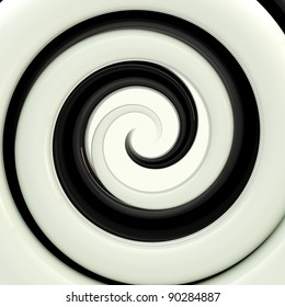 Glossy black and white twirl as an abstract background