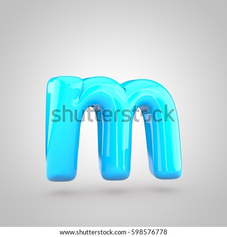glossy blue paint letter m lowercase 3d render of bubble twisted font with glint and