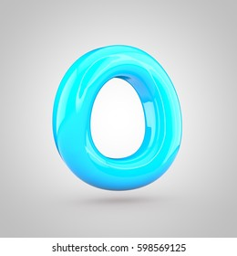 glossy blue paint letter o uppercase 3d render of bubble twisted font with glint and