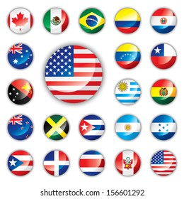 Glossy button flags - America and Oceania 21 icons. Original size of USA flag in down right corner. JPEG version.