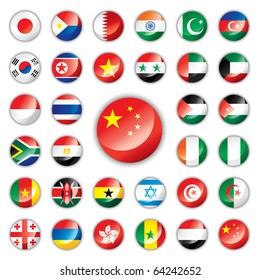 Glossy button flags - Asia & Africa. 32 icons. Original size of China flag in down right corner. JPEG version.