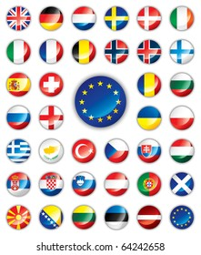 Glossy button flags - Europe. 38 icons. Original size of EU flag in down right corner. JPEG version.