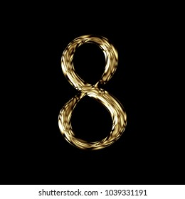 Glossy chrome gold number eight 8 in a 3D illustration with a golden color and shiny metal polished finish in an antique bookletter font isolated on a black background with clipping path.