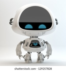 Glossy cute robotic cyber toy with screen indicator. 3d render / Little robot toy