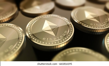 Glossy Ethereum in blurred closeup. Crypto-currency finance and banking as 3D Illustration concept.