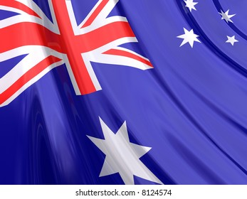 Glossy Flag of Australia. The glossy surface of the flag, reflects the ambience.