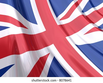Glossy Flag of United Kingdom. The glossy surface of the flag, reflects the ambience.