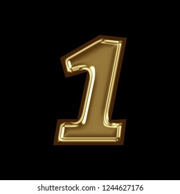 Glossy golden metallic number one 1 3D illustration with a glossy golden color metallic surface finish with a glass effect in a basic bold style font isolated on black background with clipping path