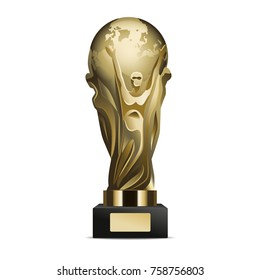 Glossy golden trophy cup. Shiny metallic statuette with human figures holding world globe on stand with nameplate realistic  isolated on white background. Famous sports prize illustration