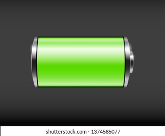 Glossy green battery icon