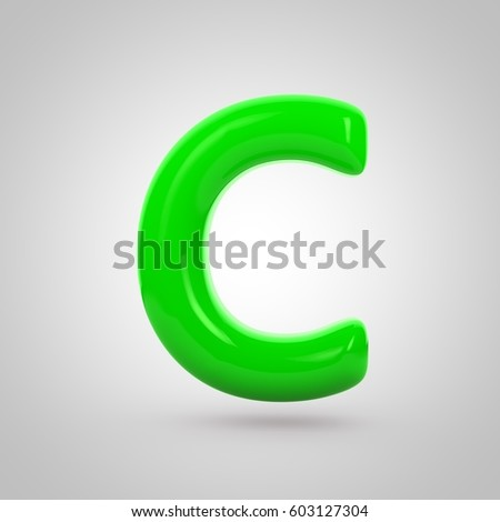 glossy green letter c uppercase 3d rendering font with glint isolated on white background