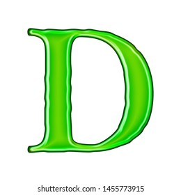 Glossy green metallic letter D in a 3D illustration with a shiny glass metal effect and bright green color in a loose rough edge font isolated on a white background