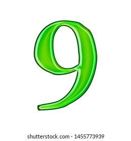 Glossy green metallic number nine 9 in a 3D illustration with a shiny glass metal effect and bright green color in a loose rough edge font isolated on a white background