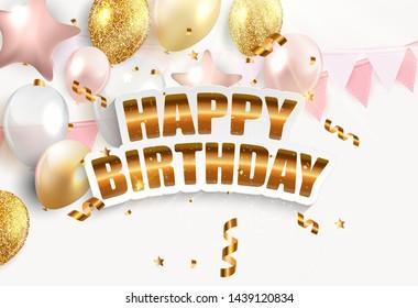 Glossy Happy Birthday Balloons Background  Illustration