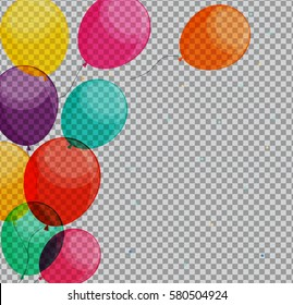 Glossy Happy Birthday Balloons on Transparent Background  Illustration