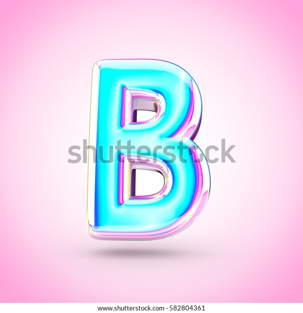 Glossy holographic letter B uppercase. 3D render of holographic font with glint isolated on pink background.