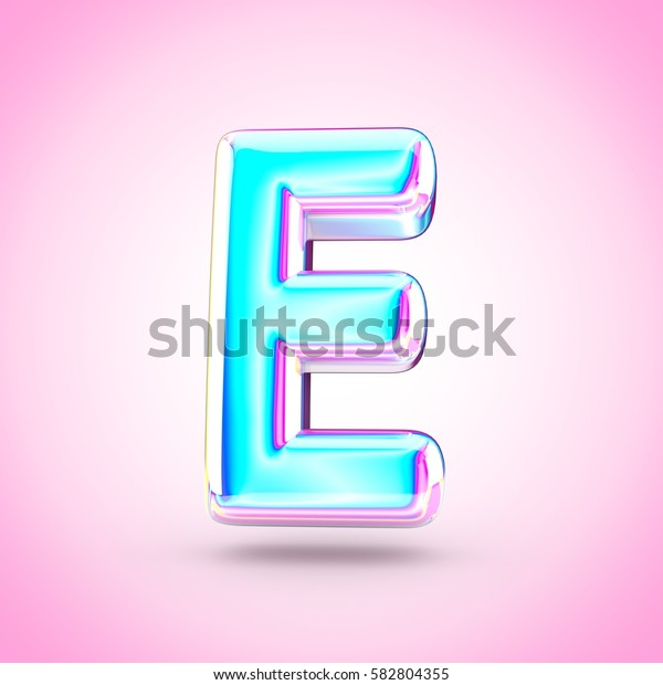 Glossy holographic letter E uppercase. 3D render of holographic font with glint isolated on pink background.