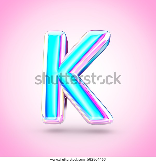 Glossy holographic letter K uppercase. 3D render of holographic font with glint isolated on pink background.
