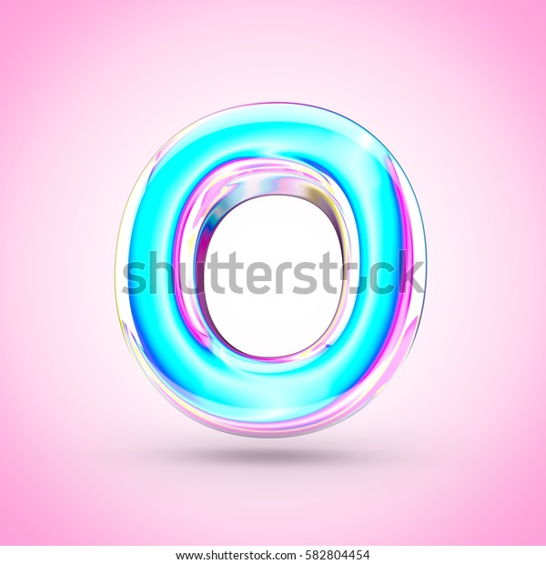Glossy holographic letter O uppercase. 3D render of holographic font with glint isolated on pink background.