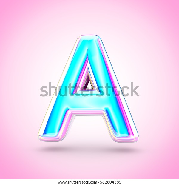 Glossy holographic letter A uppercase. 3D render of holographic font with glint isolated on pink background.