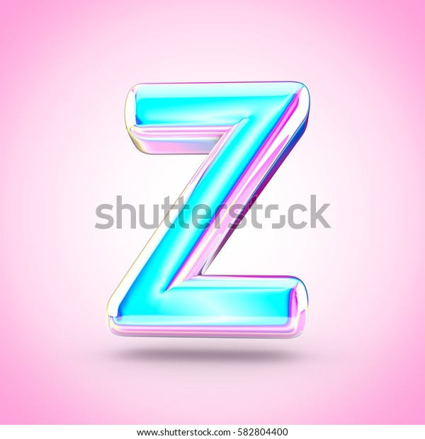 Glossy holographic letter Z uppercase. 3D render of holographic font with glint isolated on pink background.