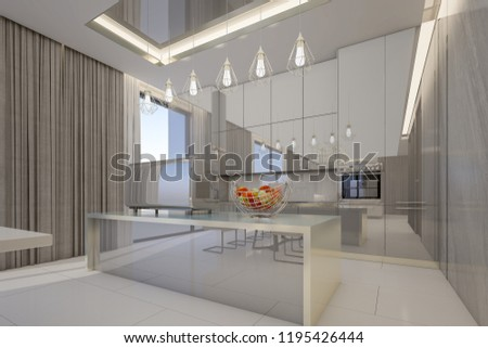 Glossy kitchen cabinets in modern kitchen room  3d rendering & Royalty Free Stock Illustration of Glossy Kitchen Cabinets Modern ...