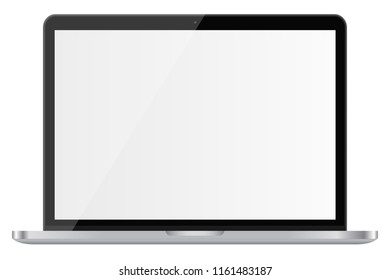 Glossy laptop with blank screen isolated on white background.3D illustration.