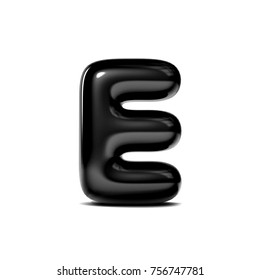 glossy letter E bubble font isolated on white background. 3D Rendering