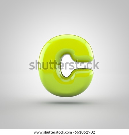 Glossy Lime Paint Letter C Lowercase Stock Illustration Royalty