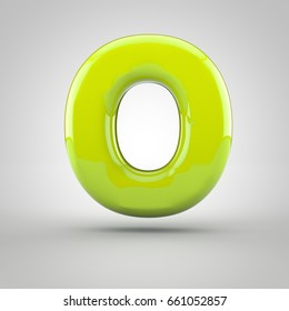 glossy lime paint letter o uppercase 3d render of bubble font with glint isolated on