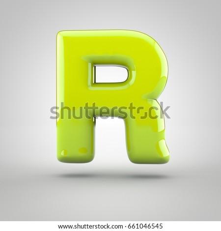 Glossy Lime Paint Letter R Uppercase Stock Illustration 661046545