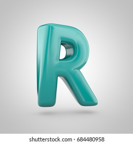 Glossy Marrs Green color alphabet letter R uppercase. 3D render of bubble twisted font with glint isolated on white background.