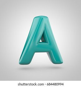 glossy marrs green color alphabet letter a uppercase 3d render of bubble twisted font with