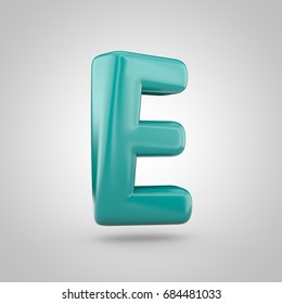 Glossy Marrs Green color alphabet letter E uppercase. 3D render of bubble twisted font with glint isolated on white background.