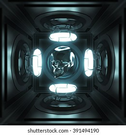 glossy metal skull in dark techno room with four glowing neon rings light music party poster template. 3d render