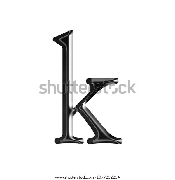 Glossy Modern Black Metallic Letter K Stock Illustration