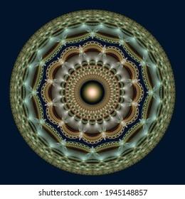 Glossy mosaic fractal ornate mandala