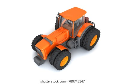 Glossy orange wheel harvesting tracktor isolated on white background. 3D illustration. View from the top