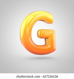 Glossy orange and yellow gradient paint alphabet letter G uppercase. 3D render of bubble twisted font with glint isolated on white background.
