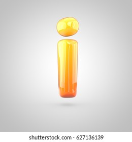 Glossy orange and yellow gradient paint alphabet letter I lowercase. 3D render of bubble twisted font with glint isolated on white background.