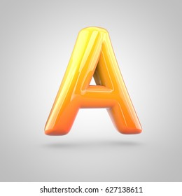Glossy orange and yellow gradient paint alphabet letter A uppercase. 3D render of bubble twisted font with glint isolated on white background.