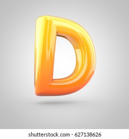 Glossy orange and yellow gradient paint alphabet letter D uppercase. 3D render of bubble twisted font with glint isolated on white background.
