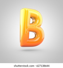 Glossy orange and yellow gradient paint alphabet letter B uppercase. 3D render of bubble twisted font with glint isolated on white background.