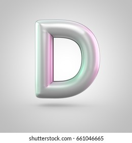 Glossy perl letter D uppercase. 3D render of bubble font with green with pink light reflections isolated on white background.
