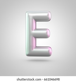 Glossy perl letter E uppercase. 3D render of bubble font with green with pink light reflections isolated on white background.
