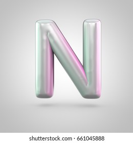 Glossy perl letter N uppercase. 3D render of bubble font with green with pink light reflections isolated on white background.