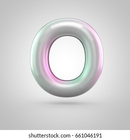 Glossy perl letter O uppercase. 3D render of bubble font with green with pink light reflections isolated on white background.