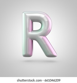 Glossy perl letter R uppercase. 3D render of bubble font with green with pink light reflections isolated on white background.