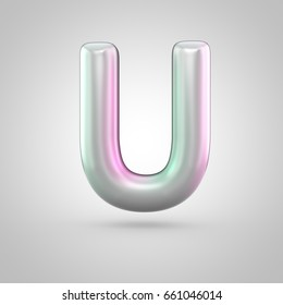 Glossy perl letter U uppercase. 3D render of bubble font with green with pink light reflections isolated on white background.