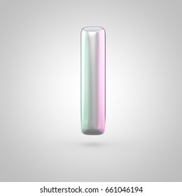 Glossy perl letter I uppercase. 3D render of bubble font with green with pink light reflections isolated on white background.